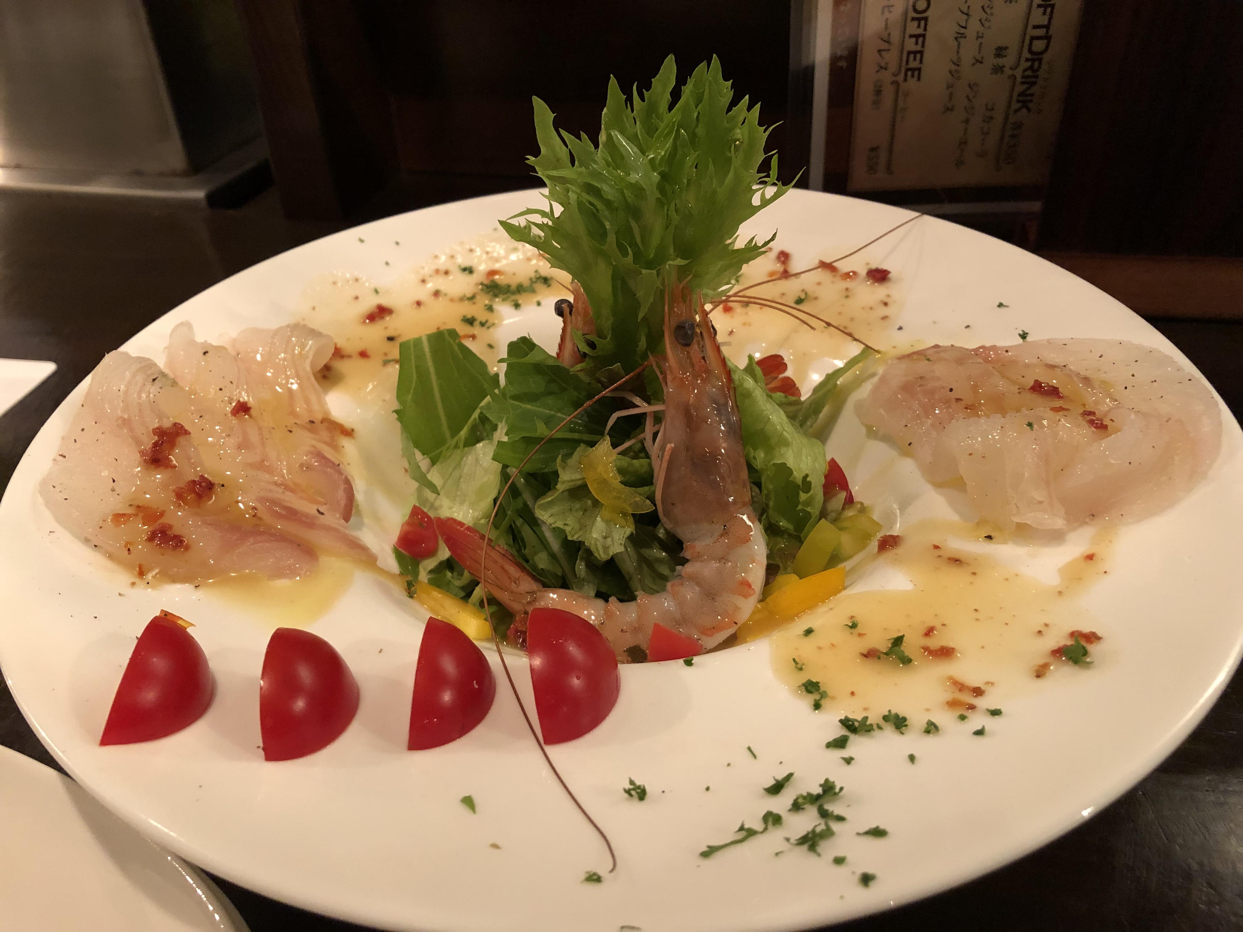 天使の海老と鮮魚のカルパッチョ Sochi
